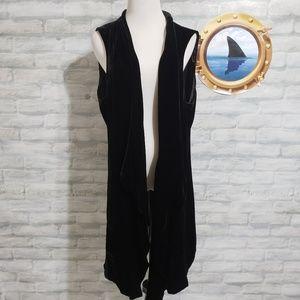 Lafayette 148 black velvet long vest